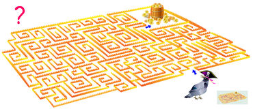 Logic puzzle game with labyrinth. Need to draw the way from the crow till the treasure. Vector image. Scale to any size without loss of resolution Stock Image