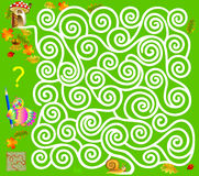 Logic puzzle game with labyrinth. Need to draw the way from the snail, till the  mushroom. Vector image. Scale to any size without loss of resolution Stock Photography