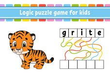 Logic puzzle game. Learning words for kids. Find the hidden name. Education developing worksheet. Activity page for study English vector illustration