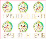 Logic puzzle game for little children. In each task add 1 matchstick to receive correct time. Vector cartoon image. Scale to any size without loss of resolution Stock Photography