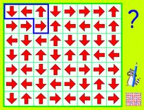 Logic puzzle game. Need to draw the lines so that every figure will have arrows in four different directions. Vector cartoon image. Scale to any size without Royalty Free Stock Image