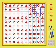 Logic puzzle game. Need to draw the lines so that every figure will have five different signs. Vector cartoon image. Scale to any size without loss of Royalty Free Stock Photo