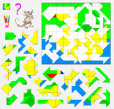 Logic puzzle game. Need to find the correct place for each detail and paint them in corresponding colors. Stock Image