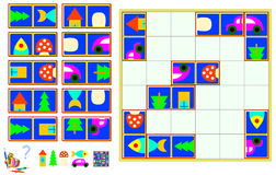 Logic puzzle game. Need to find the correct place for each piece. Royalty Free Stock Photography
