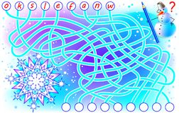 Logic puzzle game for study English. Find the correct places for the letters, write them in relevant circles and read the word. Vector cartoon image. Scale to Royalty Free Stock Photography