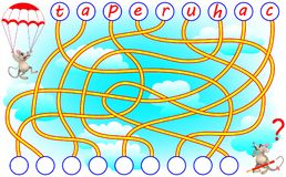 Logic puzzle game for study English or French. Need to find the correct places for the letters and write them in relevant circles. Vector cartoon image. Scale Royalty Free Stock Photo