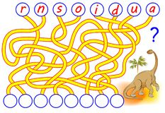Logic puzzle game for study English. Need to find the correct places for the letters, write them in relevant circles. Vector cartoon image. Scale to any size Stock Images
