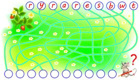 Logic puzzle game for study English. Need to find the correct places for the letters and write them. Vector cartoon image. Scale to any size without loss of Royalty Free Stock Photography