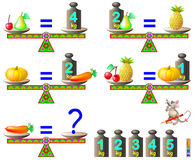 Logic puzzle game. What is the weight of the carrot? Stock Photo