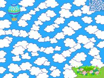Free Logic Puzzle Game With Labyrinth For Children. Help The Air Balloon Find The Way To Fly Between The Clouds And Land In The Meadow. Stock Photos - 148513973