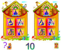 Logic puzzle game for young children. Need to find 10 differences. Developing skills for counting. Vector image. Scale to any size without loss of resolution Royalty Free Stock Images
