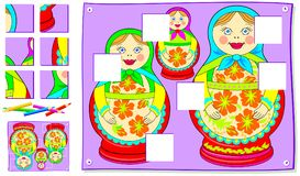 Logic puzzle game for young children. Need to find missing pieces of picture and draw them in correct places. Vector cartoon image. Scale to any size without Royalty Free Stock Images