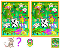 Logic puzzle game for young children. Need to find nine differences. Developing skills for counting. Vector image. Scale to any size without loss of resolution Royalty Free Stock Photos