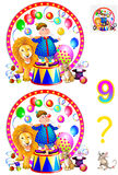 Logic puzzle game for young children. Need to find nine differences. Developing skills for counting. Vector image. Scale to any size without loss of resolution Royalty Free Stock Photography