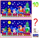 Logic puzzle game for young children. Need to find ten differences. Vector cartoon image. Scale to any size without loss of resolution Stock Photos