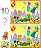 Logic puzzle game for young children. Need to find ten differences. Vector image. Scale to any size without loss of resolution Stock Photo