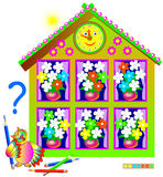 Logic puzzle game for young children. Need to paint the white flowers so that each bouquet will contain the same set. Vector image. Scale to any size without Royalty Free Stock Images
