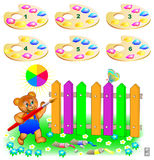 Logic puzzle. Help the bear paint the fence. Choose two correct palettes. For each plank you need to mix 2 color heaps. Royalty Free Stock Photos