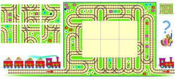 Logic puzzle with labyrinth. Need to draw the railroad rails using remaining squares and find the way for train from beginning to Royalty Free Stock Photo