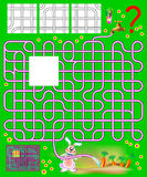 Logic puzzle with labyrinth. Need to find the only one correct piece and draw the pipes so the rabbit will be able to water the th. Vector cartoon image.  Scale Stock Image