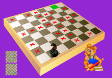 Logic puzzle with labyrinth - need to find way for chess knight till the green square. Forbidden to step on the red crosses. Vector cartoon image. Scale to any Royalty Free Stock Photo