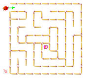 Logic puzzle with labyrinth - need to remove one matchstick so that the  ladybird could walk till the flower. Vector cartoon image. Scale to any size without Stock Photo