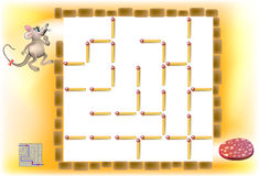 Logic puzzle with labyrinth - need to remove three matchsticks so that the mouse could walk till the sausage. Stock Image