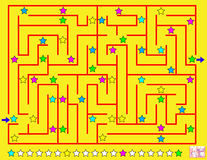 Logic puzzle with labyrinth. Paint the line of stars which you meet on your way respecting regularity. Stock Photo