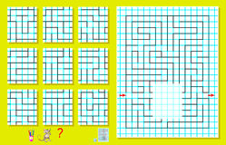 Logic puzzle with labyrinth on a square paper. Need to find the only one correct piece and draw it so to pass the way from beginni. Vector cartoon image. Scale Royalty Free Stock Photos