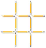 Logic puzzle. Move three pencils to make three squares. Royalty Free Stock Photos