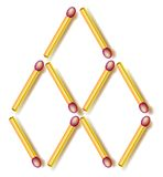 Logic puzzle. Move two matchsticks to make six rhombuses. Stock Photos