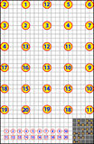 Logic puzzle on a square paper. Find the way how to join numbers from 1 to 20 by vertical or horizontal line. Vector cartoon image. Scale to any size without Royalty Free Stock Photos