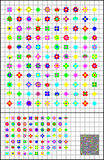 Logic puzzles on a square paper. Join flowers by straight line to get closed circuit. Each flower you have to cross once. Royalty Free Stock Images