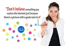 Logic of social media, online business concept. Businesswoman write logic of social media of online business concept Royalty Free Stock Photos