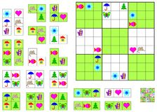 Logic Sudoku game - need to complete the puzzle using the remaining details. Stock Images