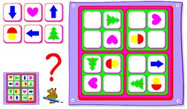 Logic Sudoku puzzle game for young children. Need to draw the missing pieces in correct places. Vector cartoon image. Scale to any size without loss of Royalty Free Stock Photos