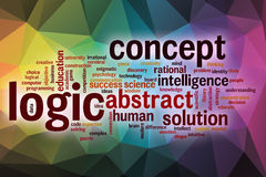 Logic word cloud with abstract background Stock Photography