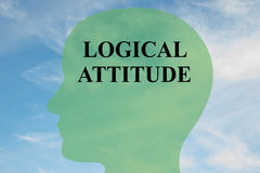 Logical Attitude concept. Render illustration of LOGICAL ATTITUDE script on head silhouette, with cloudy sky as a background Stock Photo