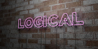 LOGICAL - Glowing Neon Sign on stonework wall - 3D rendered royalty free stock illustration. Can be used for online banner ads and direct mailers Royalty Free Stock Photography