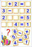 Logical math exercises for kids. Need to find the missing details, solved examples and write the numbers in relevant places. Vector image. Scale to any size Stock Photo