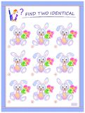 Logical puzzle game for little children. Need to find two identical rabbits. Educational page for kids.