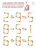 Logical puzzle game with matches. In each task remove 1 matchstick to make the inequalities correct. Printable page for brainteaser book. Developing spatial vector illustration