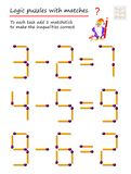 Logical puzzle game with matches. To each task add 1 matchstick to make the inequalities correct. Printable page for brainteaser book. Developing spatial stock illustration