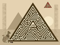 Free Logical Puzzle Game With Labyrinth For Children And Adults. Find The Way In Pyramid To Ancient Egyptian Treasure. Stock Photos - 159692443