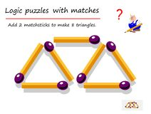 Free Logical Puzzle Game With Matches For Children And Adults. Need To Add 2 Matchsticks To Make 8 Triangles. Royalty Free Stock Photo - 163469345