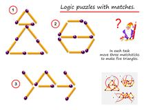 Free Logical Puzzle Game With Matches. In Each Task Need To Move Three Matchsticks To Make Five Triangles. Stock Photography - 155456832