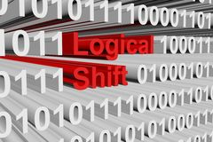 Logical shift. In a binary code 3D illustration Royalty Free Stock Photography