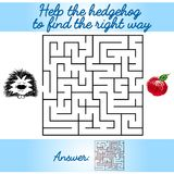Logical task for children with a maze and hedgehog. Logical task for children with a maze. Find the way out of the labyrinth. Page for childrens books. Help the Royalty Free Stock Image