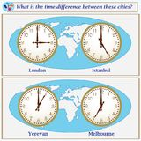 Logical task. What is the time difference between these cities?. Logical task.What is the time difference between these cities? Vector illustration Royalty Free Stock Photo