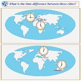 Logical task. What is the time difference between these cities?. Logical task.What is the time difference between these cities? Vector illustration Stock Images